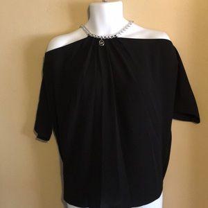 MK dressy black silver top medium